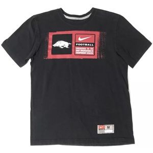NIKE Arkansas Razorbacks Football T Shirt Medium